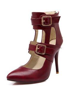 Punta tacchi alti viola femminile con fibbia cinturino alla caviglia tacco a spillo scarpe