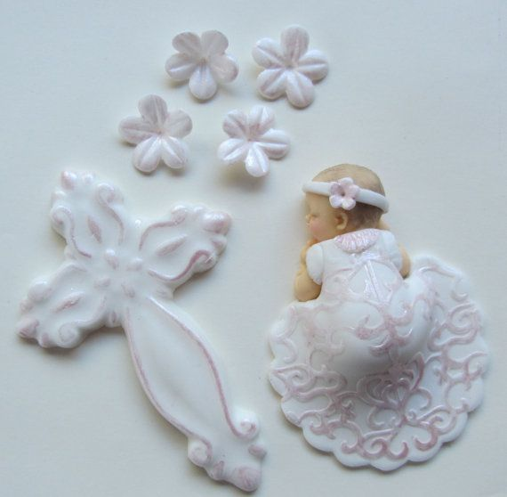 Baptism / Christening Fondant Baby Girl Cake Topper in Gown Large Cross & Flowers