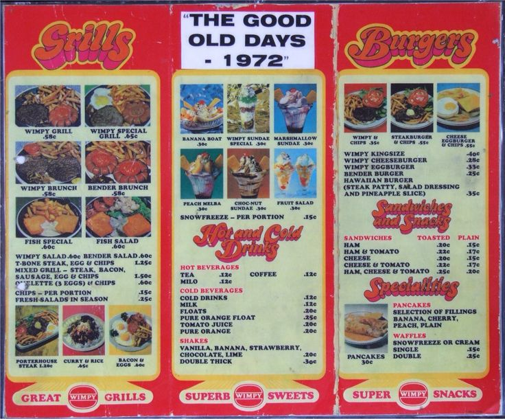 Menu from South Africa 1970's