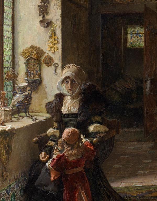 """Detalle del cuadro """"La reina doña Juana la Loca, recluida en Tordesillas con su hija, la infanta doña Catalina"""" del Museo Nacional del Prado. Fue pintado en 1906 por Francisco Pradilla (nacido en Villanueva de Gállego, Zaragoza)"""