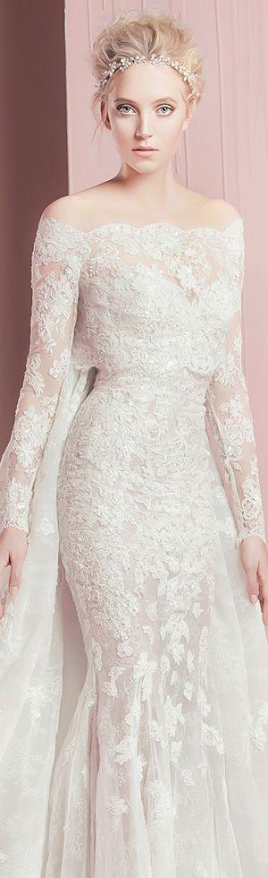 zuhair murad spring summer 2016 bridal strapless sweetheart neckline lace embroidery long sleeves bolero gorgeous white sheath wedding dress petra with cape watteau train #weddingdress #weddings #weddingdresses