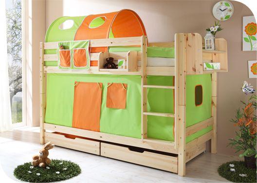 Двухъярусная кровать из неокрашенного дерева «Зелено-оранжевая»