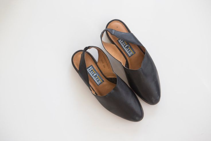 vintage 90s leather slingback flats by Tomorrownever on Etsy