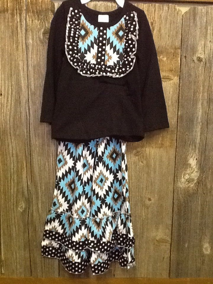 Children's Black and Turquoise Aztec Outfit