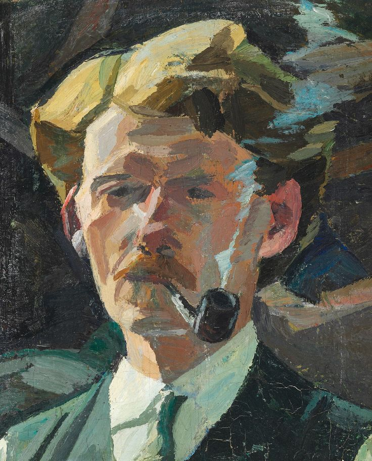 """Edvard Weie: """"Self portrait with pipe"""", 1916/18."""