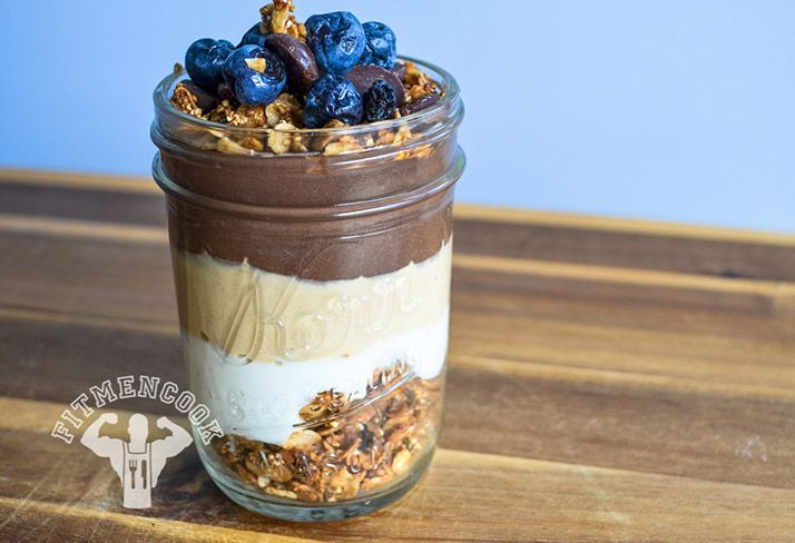 Red-Eye Chocolate and Peanut Butter Protein Parfait with Blueberries and Dark Chocolate Chips