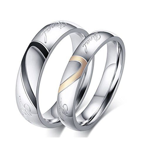 rowag black 5mm men heart shape titanium stainless steel couple wedding bands for him and her - Matching Wedding Rings For Him And Her