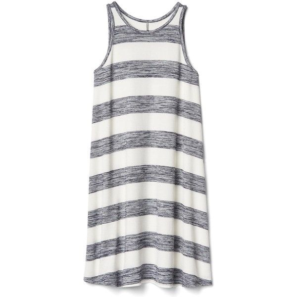 Gap Women Softspun A Line Tank Dress ($60) ❤ liked on Polyvore featuring dresses, tall, tall dresses, round neck dress, a line silhouette dress, jersey knit tank dress and a line tank dress