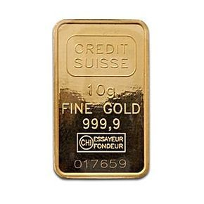 Credit Suisse Gold Bar (Circulated in good condition) - 10 g 10 gram gold bar manufactured by Valcambi. Each gold bar contains a minimum of .9999 gold.