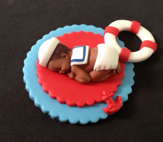 Fondant edible baby sailor cake topper por evynisscaketopper