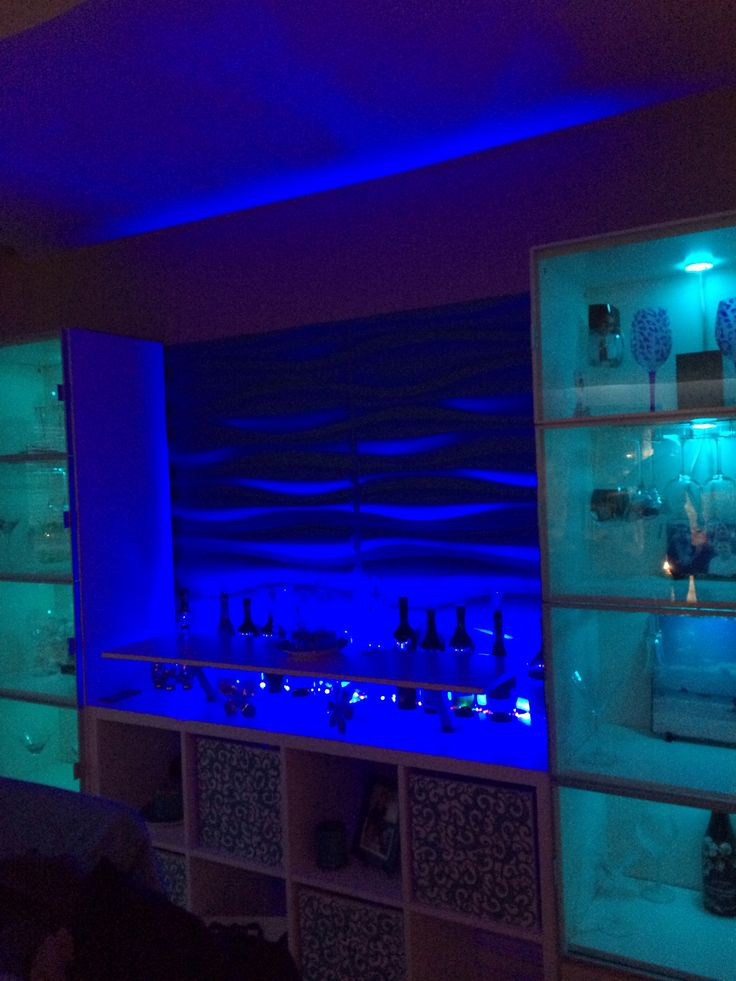 Led Up Lighting 3d Wall Panels Ikea Kallax Bar Hack My
