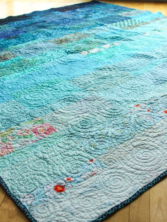 Quilt  queen size   ocean rain  ready to ship by btaylorquilts, $520.00