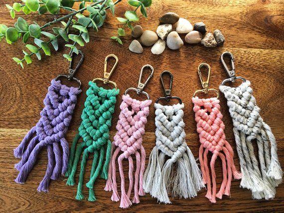 Charm Handmade Key Chain Boho Style Feder Macrame Key Chain