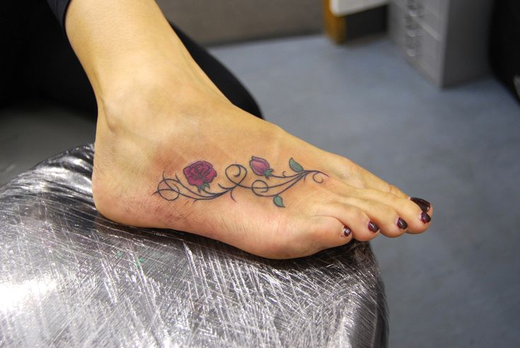 rose and vines foot tattoo | Tattooed by Johnny at; The Tatt… | Flickr