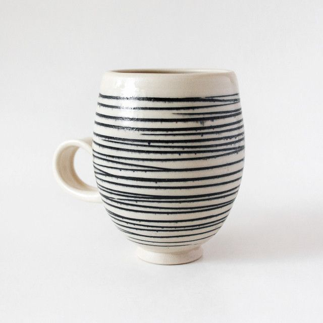 Black Line Mug Hand Thrown Ceramic Mug Featuring A Simple