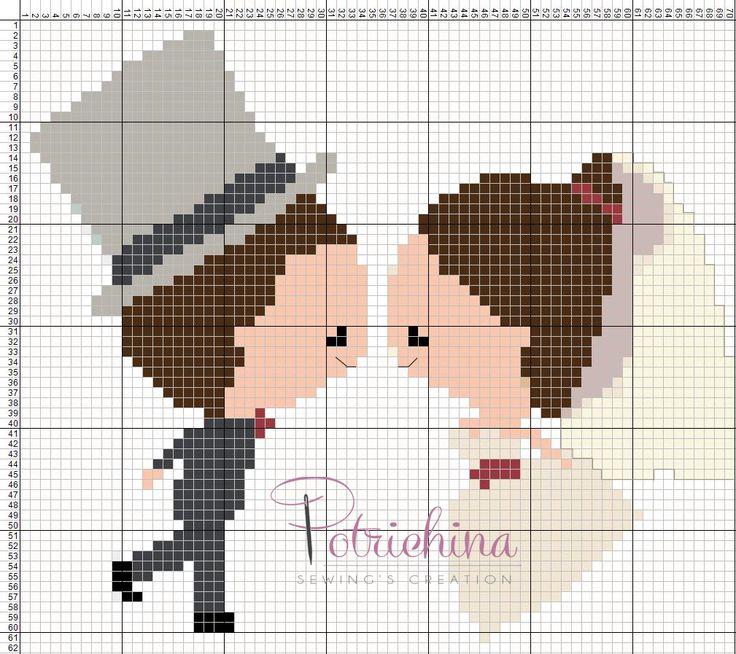 wedding sposini sposi matrimonio - schema punto croce - cross Stitch - Kreuzstich - Punto de Cruz