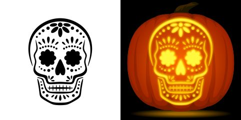 Sugar skull pumpkin carving stencil. Free PDF pattern to download and print at http://pumpkinstencils.org/download/sugar-skull-pumpkin-stencil/