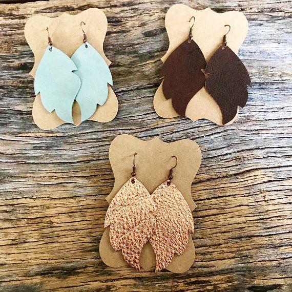 Handmade leather earrings 2 1/4 inch in length Nickel-free earring wire