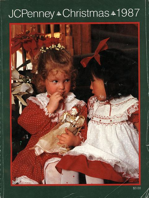making Christmas lists from the JCPenney catalog ... and I think I had those dresses for Christmas pictures