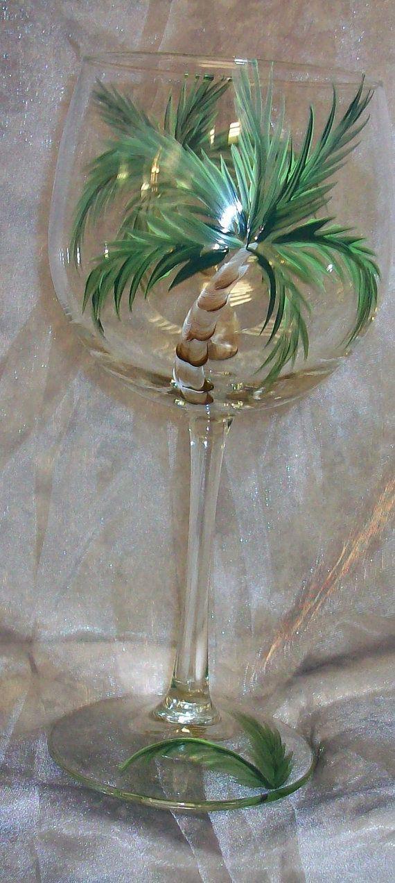 Hand painted Palm treeWine Glasses