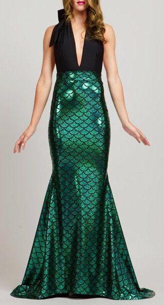 Noble Plunging Neck Sleeveless Fish Scale Print Fishtail Dress