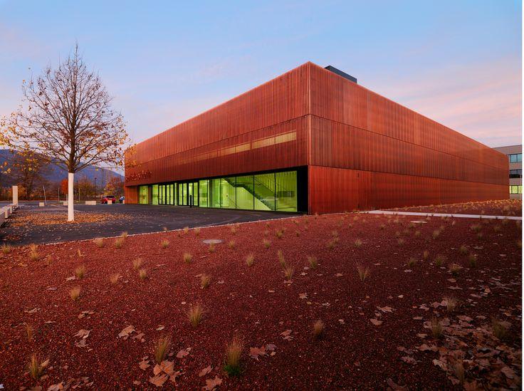 """Il Palasport St. Martin, è stato progettato da Dieter Wissounig architekten ed ha ricevuto una menzioen speciale al concorso """"Copper in Architecture"""" 2015"""