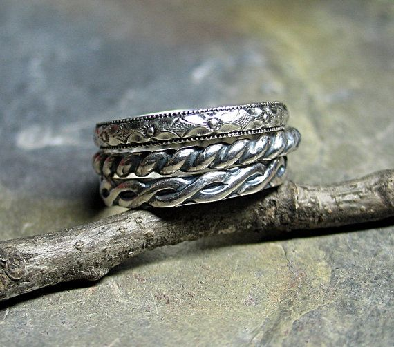 Three's Company - set of 3 sterling silver pattern wire rings    ...from Lavender Cottage on Etsy