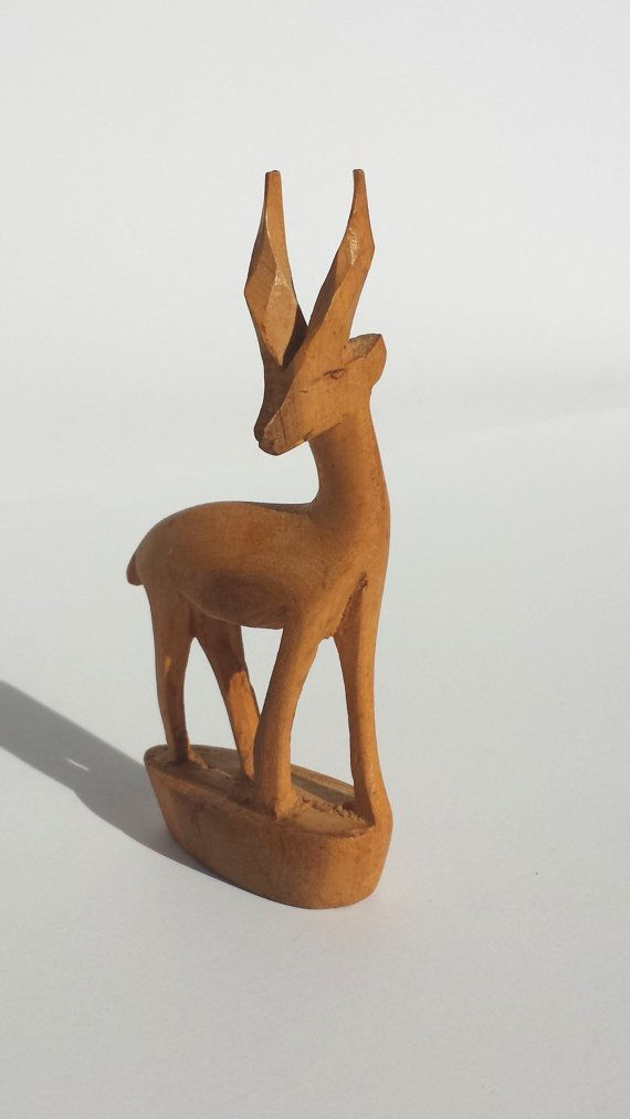 Vintage carving wooden gazelle hand made in