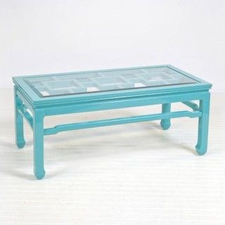 This Light Blue Coffee Table Could Be Placed In The Center Of The Poppy Red  Couch