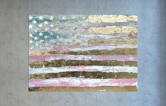 American Flag Painting USA Flag Gold Leaf Art Patriotic