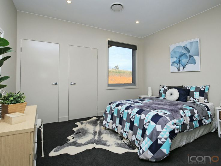 Blues & Greys. #bedroom #modern #iconobuildingdesign