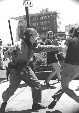 People's Park, Berkeley, 1969. Downtown, Alameda County Sheriff attacks. Photo: Don Patterson. At least 128 Berkeley residents were admitted to local hospitals for head trauma, shotgun wounds, and other serious injuries inflicted by police.