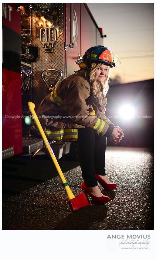 Senior session high school senior girl portrait fire truck www.amportraits.com