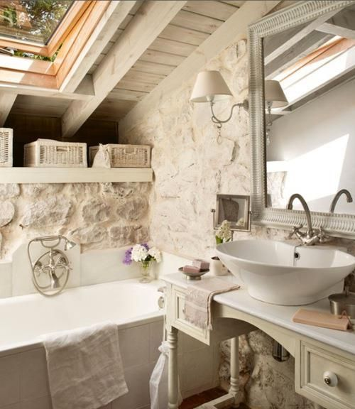 bathroom with pitched roof area