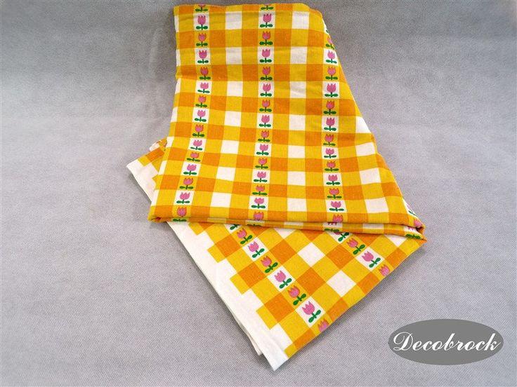 coupon de tissu vintage des années 70 mode vintage France vintagefr fabrication rideaux nappe coussins diy loisirs créatifs de la boutique decobrock sur Etsy
