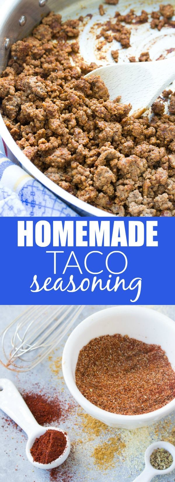 This EASY Homemade Taco Seasoning recipe is healthier and more flavorful than the store-bought packets! Use it in tacos, burritos, soups and more! | www.kristineskitchenblog.com