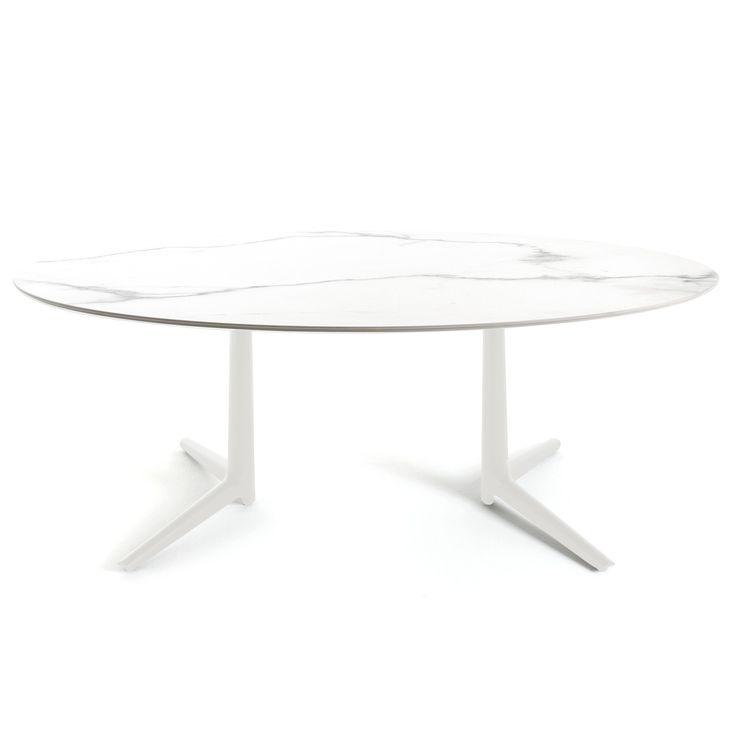 Kartell   Multiplo Esstisch, Oval 192 X 118 Cm, Steingut Marmorstyl Weiß  Jetzt Bestellen