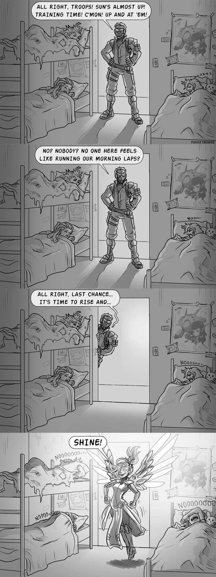 Haha that's the worst way to wake up lol. I'd totally do that haha mercy and 76 are the best parents haha