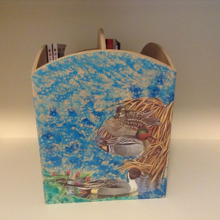 Decoupaged magazine rack , fourth side