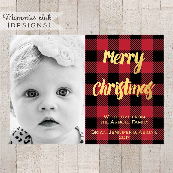 Buffalo Plaid with Gold Foil Photo Holiday Card, Buffalo Check Chrismas Card, Red and Black Holiday Card, Photo Christmas Card by MommiesInk on Etsy https://www.etsy.com/listing/250352862/buffalo-plaid-with-gold-foil-photo