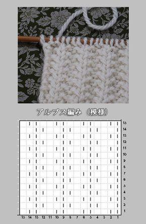 アルプ編み アルプス模様の編み図と編み上がり作品 もっと見る