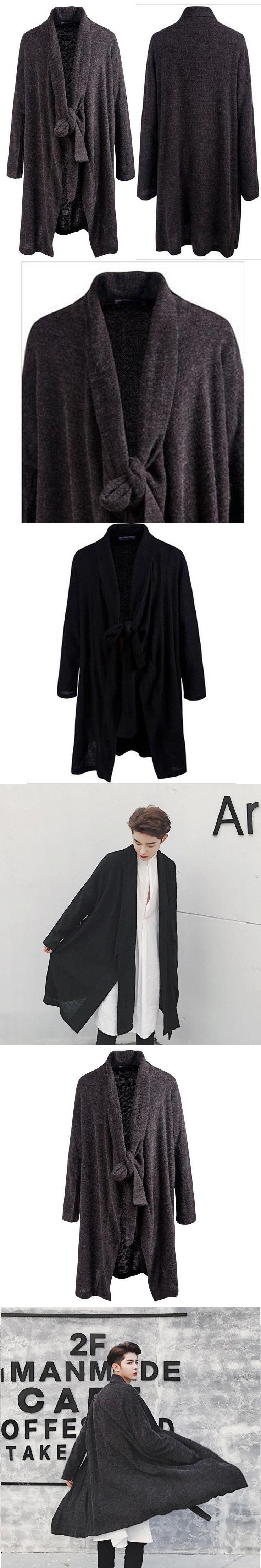 Trendy Men's Loose Black Gray Gothic Cape Avant-grade Rib Long Front Trench Drape Cardigan Mens Cotton Linen Thin Dust Coat Tops