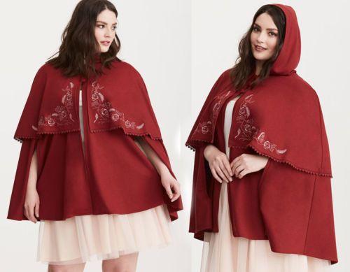 Torrid-belleza-y-la-Bestia-Belle-Bordado-Rose-Rojo-039-s-Cabo-De-Invierno-Talla-Grande-0-1
