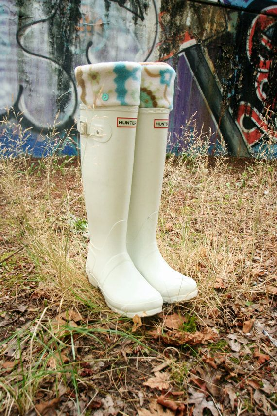 SLUGS Fleece Rain Boot Liners In Tan With A Ivory Turquoise Damask Cuff, Fall Winter Fashion, Boot Cuffs, Tall Socks (Sm/Med 6-8 Boot)