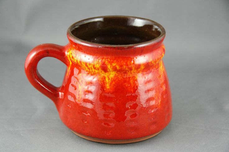 Vintage Estriceram Mug Cup Orange Drip Glaze Mid Century ...