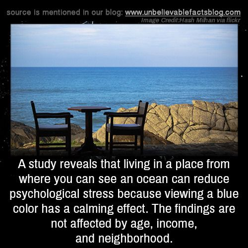 A study reveals that living in a place from where you can see an ocean can reduce psychological stress because viewing a blue color has a calming effect. The findings are not affected by age, income, and neighborhood.