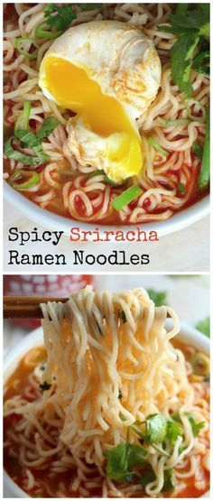 20-Minute Homemade Spicy Sriracha Ramen Noodle Soup - so flavorful, easy, and delicious! With Miracle noodles instead??