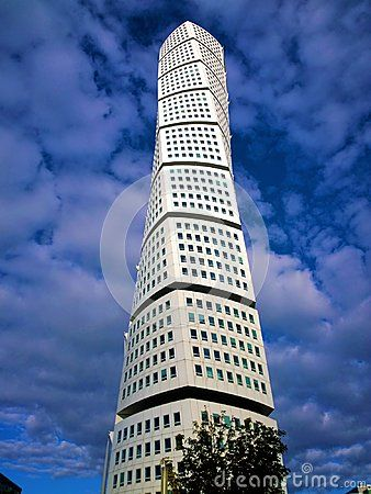 A photo of Turning Torso tower in Malmo, Sweden.
