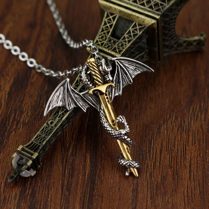 2 style  Dragon Pendant Chain Long Pendant Necklace Pterosaur Sword Jewelry Men Necklace Dragon Punk Necklace Dragon sword