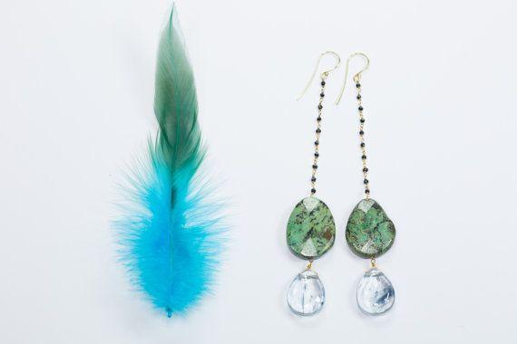 Full Moon Earrings // African Turquoise Spinnel by InesAnaisRain